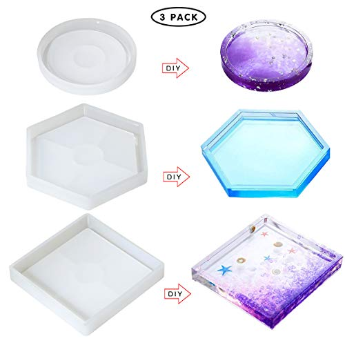11.5cm Coaster Resin Mold DIY Epoxy Molds for Casting Resin Durable and Reusable 3 Pack Round Coaster Silicone Mold Diameter 4.5