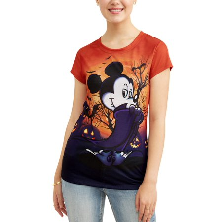 8c9c35f8 Mickey Mouse - Juniors' Vampire Sublimated Short Sleeve Halloween Tee -  Walmart.com