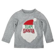 Carters Infant & Toddler Boys Heather Gray Team Santa Holiday Long Sleeve Shirt