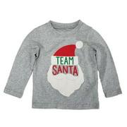 Carters Infant & Toddler Boys Heather Gray Team Santa Holiday Long Sleeve Shirt