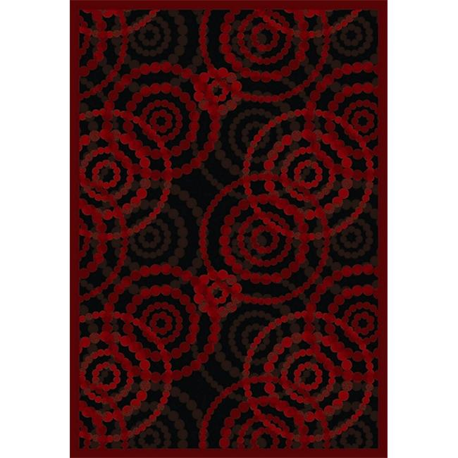 Joy Carpets 1517D-01 Dottie Ruby 7 ft. 8 inch x 10 ft. 9 inch 100 Pct.  STAINMASTER Nylon Machine Tufted- Cut Pile Whimsy Rug