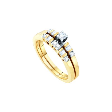 10K Yellow Gold 0.30ctw Elegant Bar Set Diamond Wedding Fashion Bridal Set Ring