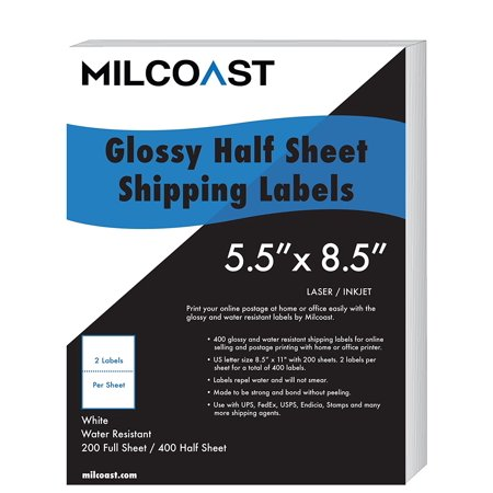 Milcoast Half Sheet Shipping Labels Glossy Water Resistant For Laser Or Inkjet Printer 5 1 2  X 8 1 2  For Ups  Fedex  Usps  Paypal  Fba