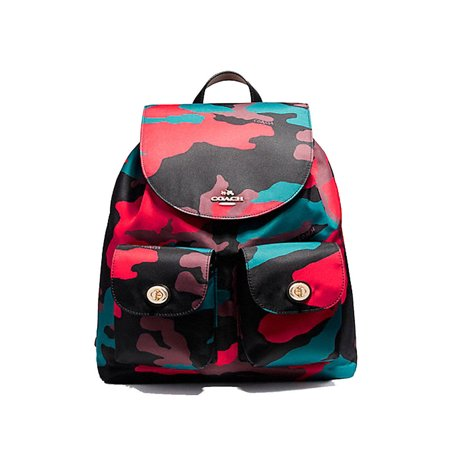 New F11848 Nylon Camo Black Red Backpack Bookbag Bag Leather Strap