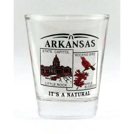 Arkansas Shot Glass - Arkansas State Scenery Red New Shot Glass