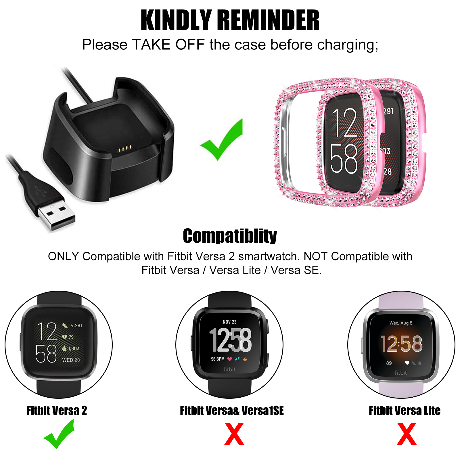 Face Cover PC Plated Bumper Protective Frame for Versa 2 Compatible with Fitbit Versa 2 Protector Case Black Bling Double Row Crystal Diamonds Shiny Rhinestone Bumper