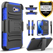 Galaxy J7 V Case, Galaxy J7 Perx Case, Galaxy J7 Sky Pro Case, Dual Layers [Combo Holster] Case And Built-In Kickstand with [Premium Screen Protector] And Circlemalls Stylus Pen (Blue)