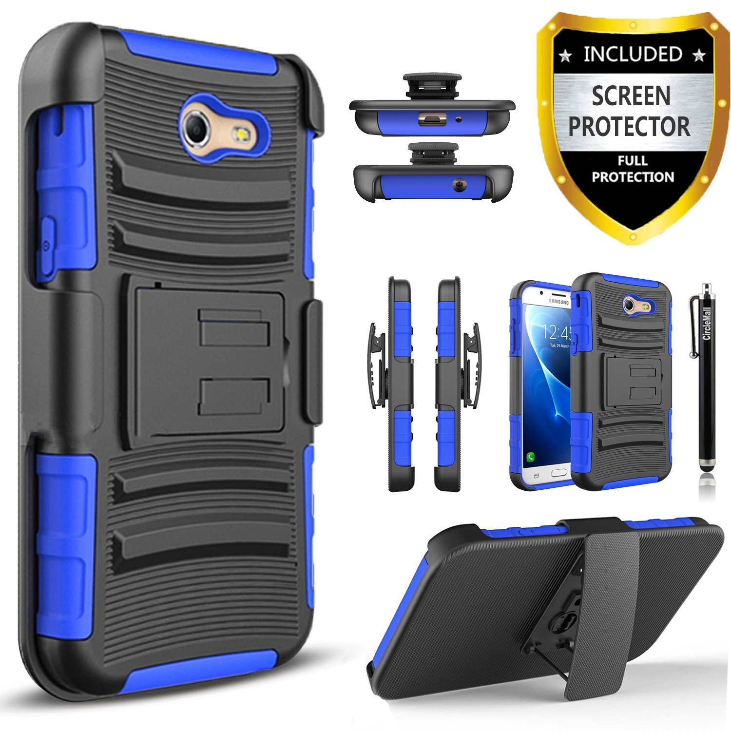 Samsung Galaxy J7 Prime Case, Galaxy J7V Case, Dual Layers And Kickstand Bundled with [Premium Protector] Hybird Shockproof And Circlemalls Stylus (Camo)