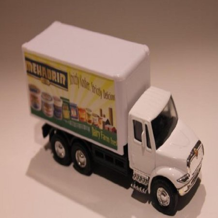 Delivery Bank - Mehadrin Dairy Die Cast Pull Back Delivery Toy Truck in White-opens Back Doors and Wheels.