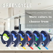 GREENCYCLE Compatible DYMO LetraTag Refills 91330 91331 91332 91333 91334 91335 Label Tape 12mm x 4m (1/2 inch x 13 feet) Combo 6 Pack Set, Compatible Dymo LetraTag Plus LT100H LT100T QX50 Label Maker