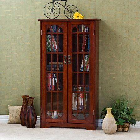 Southern Enterprises Glass Window Pane Media Cabinet Bookcase   Cherry