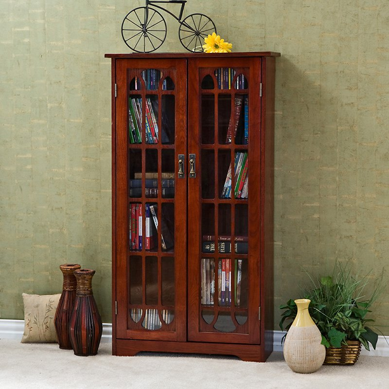 Southern Enterprises Glass Window Pane Media Cabinet Bookcase - Cherry