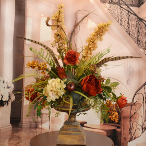 Floral Home Decor Large Silk Flower Arrangement with Feathers