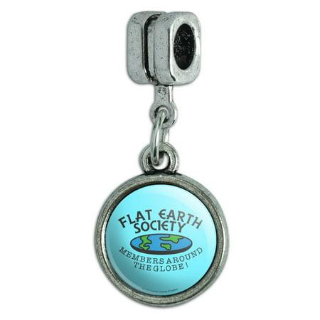 Flat Earth Society Members Around the Globe Funny Humor Italian European Style Bracelet Charm Bead Earth Italian Charm