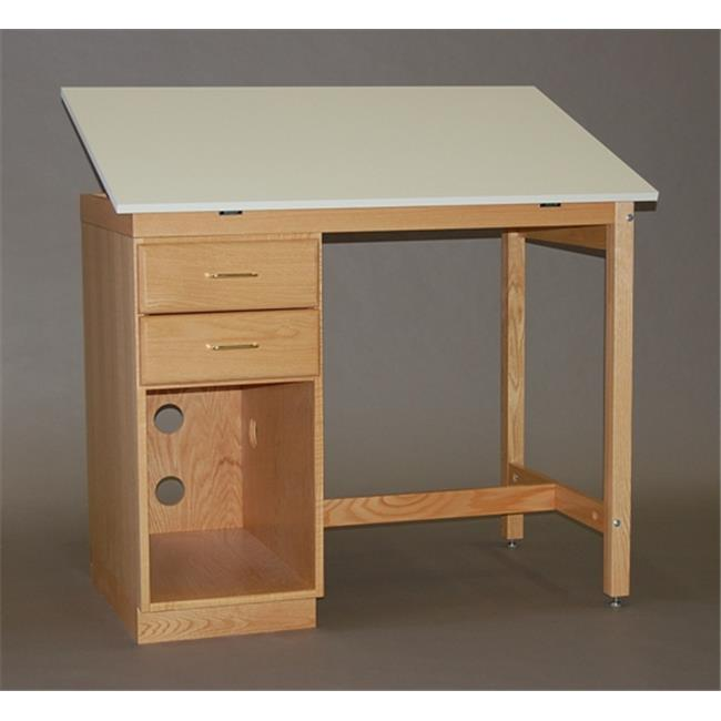 SMI M3446-37PCDA Medium Oak Finish Pedestal Computer Desk, 34 X 46inch