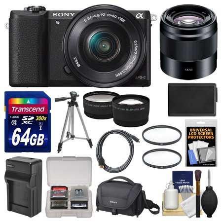 Sony Alpha A5100 Wi Fi Digital Camera   16 50Mm  Black  With 50Mm F 1 8 Lens   64Gb Card   Case   Battery   Charger   Tripod   Tele Wide Lens Kit