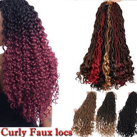 S-noilite Wavy Faux Locs Braids 20Inch Real Faux Locs Crochet Hair with Curly Ends Goddess Crochet Synthetic Braiding Extensions Dark black-20