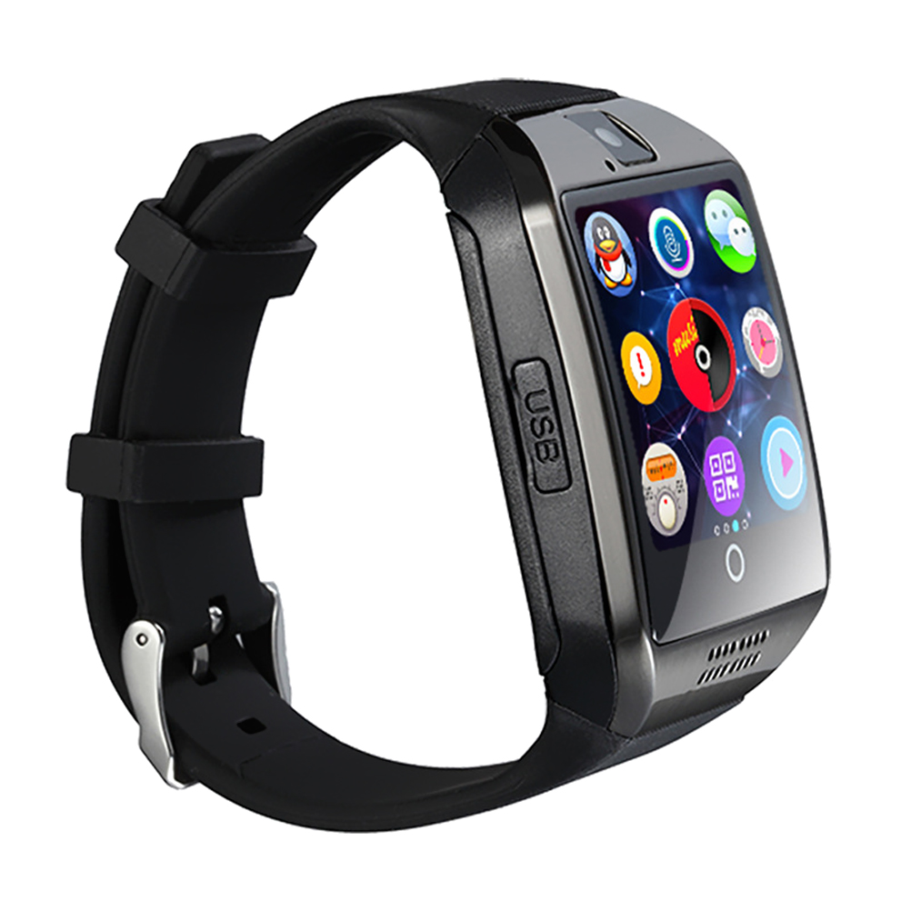 Q18 Smart Wrist Watch Bluetooth USB Charging Smartwatch Phone with Camera TF/SIM Card Slot GSM Anti-lost for Android (Black)