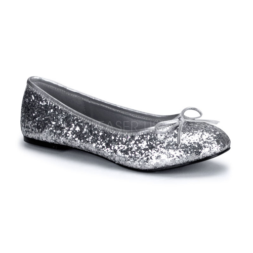 Womens Halloween Star Silver Glitter Flat Shoes size 7