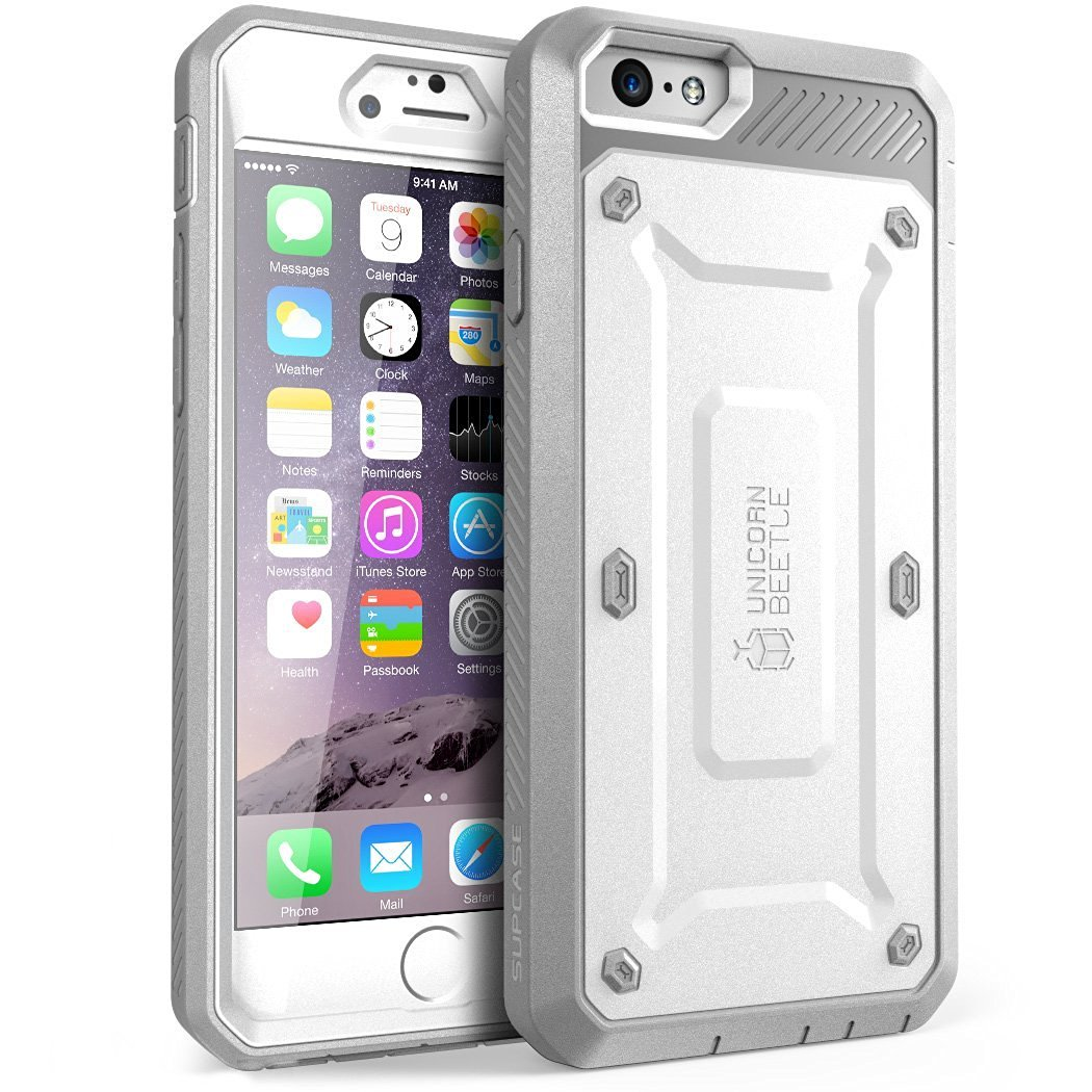 "SUPCASE Apple iPhone 6 Plus 5.5"" Case - Unicorn Beetle Pro Series Protective Cover with Built-in Screen - White/Gray"