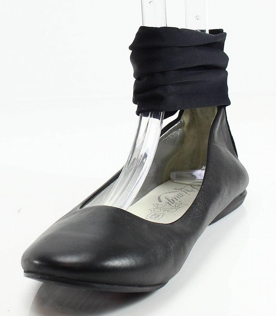 Primigi New Black Ribbon Ankle Women's Size 7.5M Leather Ballet Flats by Primigi