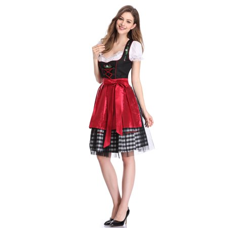 Women's German Dirndl Dress 3 Pieces Traditional Bavarian Oktoberfest Costumes for Halloween - Carnival Halloween Costumes