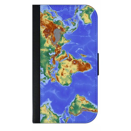 Glyde Phone - World Map Globe Geographic Continents Print Design - Phone Case Compatible with the Samsung Galaxy s9+ / s9 Plus - Wallet Style with Card Slots
