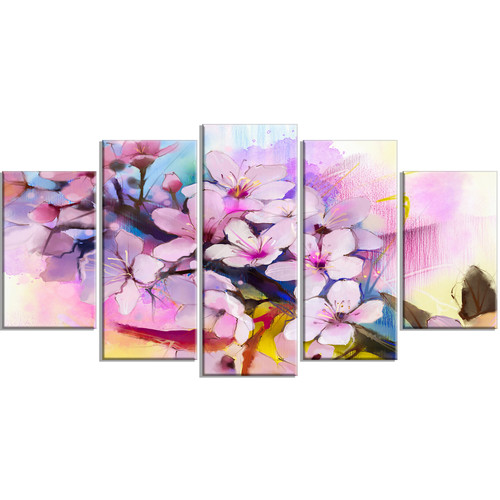 Design Art 'Japanese Cherry Blossoms Watercolor' 5 Piece Painting Print on Wrapped Canvas Set