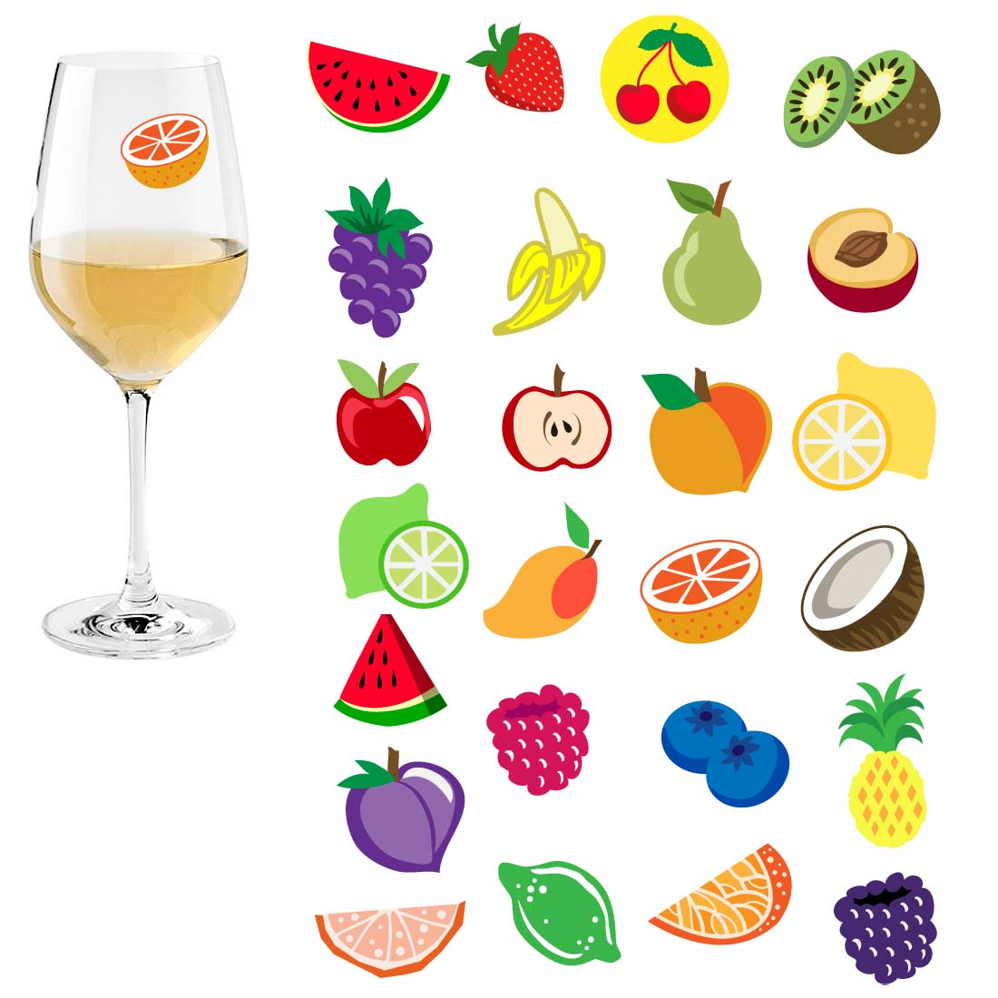 Avery Barn 25pc Mixed Shape Party Supply Wine Glass Marker Silicone Stickers Set
