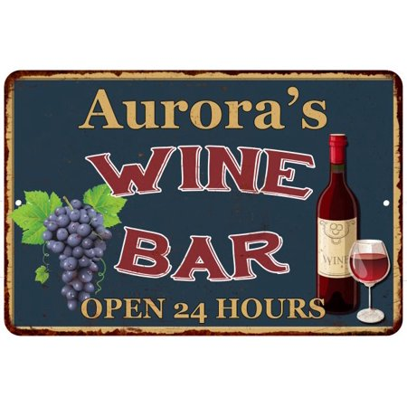 Aurora Bar - Aurora's Green Wine Bar Wall Décor Kitchen Gift 8x12 Metal 208120043544