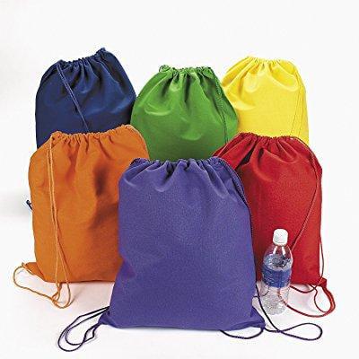 large bright canvas drawstring backpacks (1 dozen) - bulk [toy] by fun express (Backpacks Cheap Bulk)