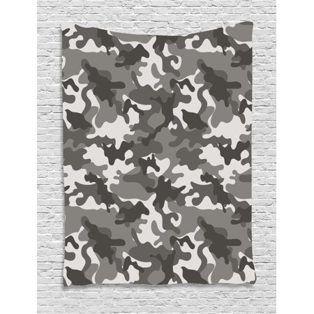 Camouflage Tapestry, Monochrome Army Attire Pattern Camouflage inside Vegetation Military Equipment, Wall Hanging for Bedroom Living Room Dorm Decor, 60W X 80L Inches, Grey Coconut, by