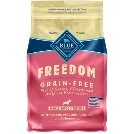 Blue Buffalo Freedom Grain Free Natural Adult Small Breed Dry Dog Food, Chicken, 4-lb