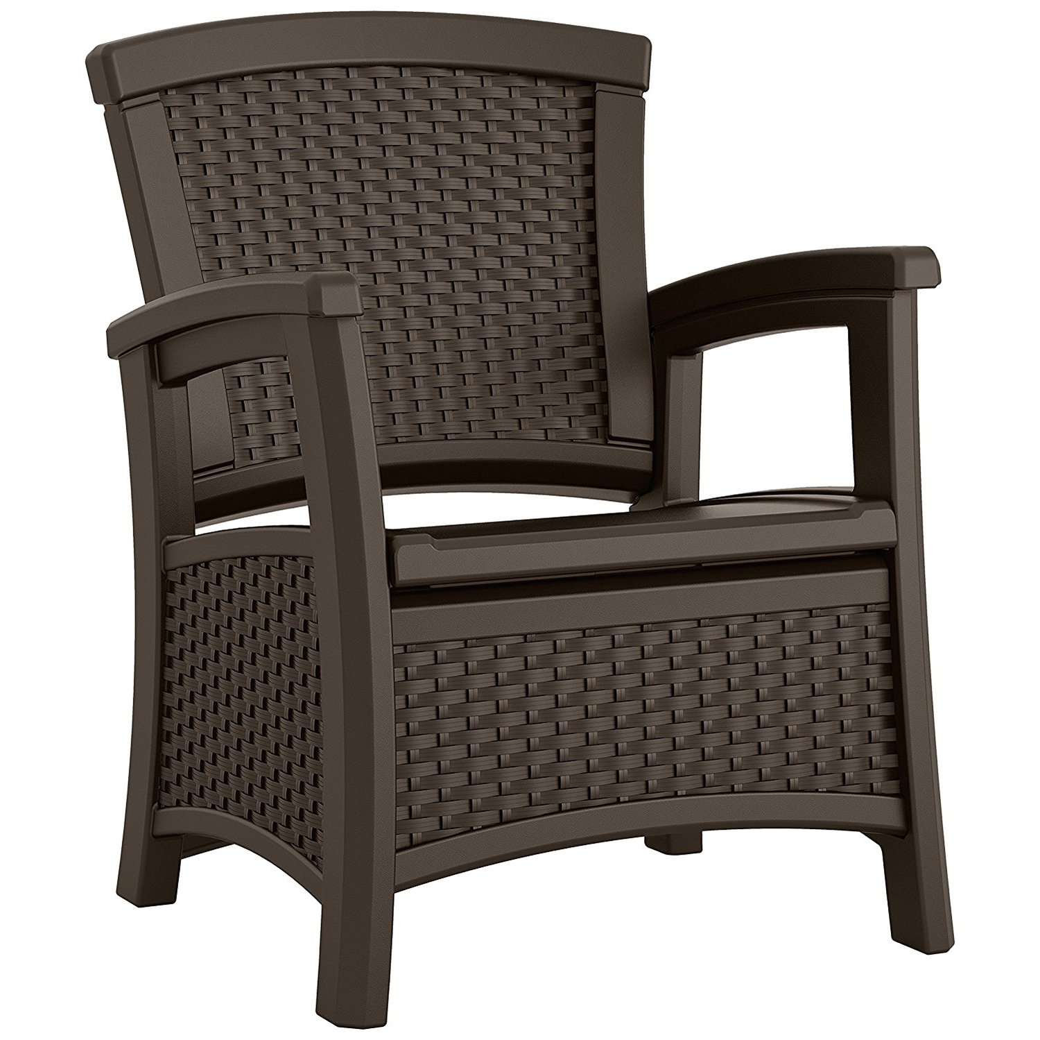 Suncast Elements Resin Club Chair with Storage, Java, BMCC1800