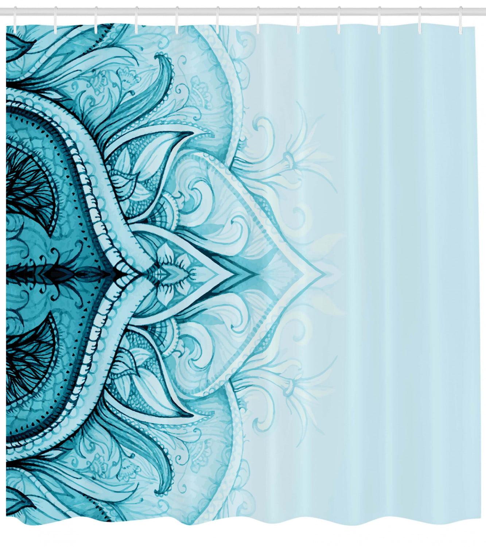 Abstract Mandala Flower Shower Curtain Set Waterproof Fabric Bathroom w// Hooks