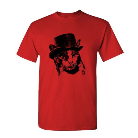 ORANGE CHARLES STEAMPUNK CAT - kitty - Cotton Unisex T-Shirt - Cheap Steampunk Clothing