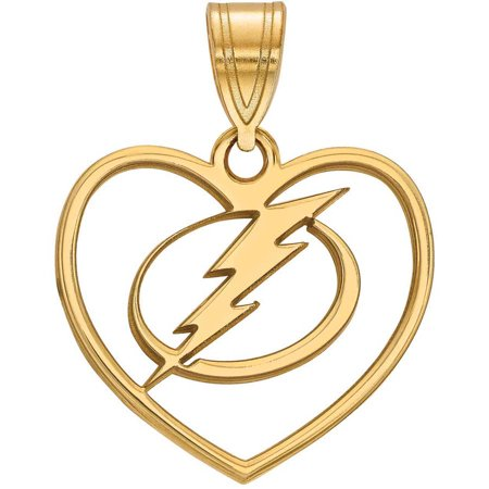LogoArt NHL Tampa Bay Lightning 14kt Gold-Plated Sterling Silver Pendant in Heart