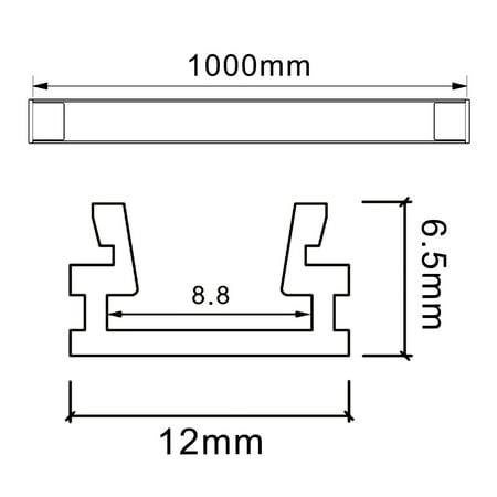 5pcs CN-627 1m 12mmx6.5mm LED Aluminium Canal Système avec Couvercle pour Bande LED - image 3 de 5