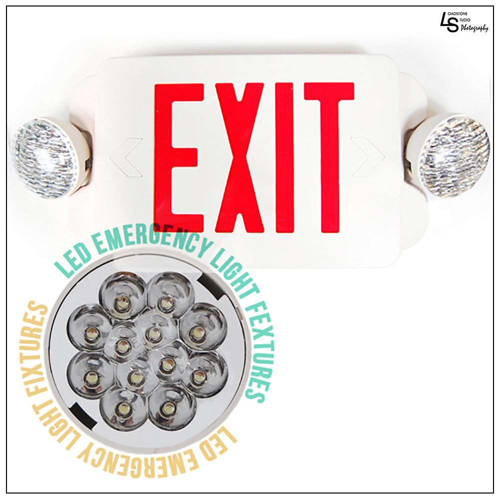 Click here to buy eToplighting LED Red Exit Sign Emergency Light Combo Lighting with Battery Back-Up UL924 ETL listed, WMLS1429 by Loadstone Studio.