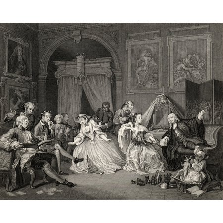 Marriage A La Mode Toilette Scene From The Original Picture By Hogarth From The Works Of Hogarth Published London 1833 Stretched Canvas - Ken Welsh  Design Pics (16 x 13)