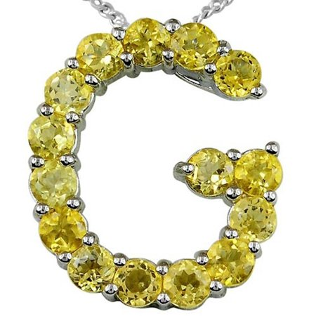 Orchid Jewelry Sterling Silver 1.5 Carat Yellow Citrine Anniversary Pendant + Free Jewelry Pouch
