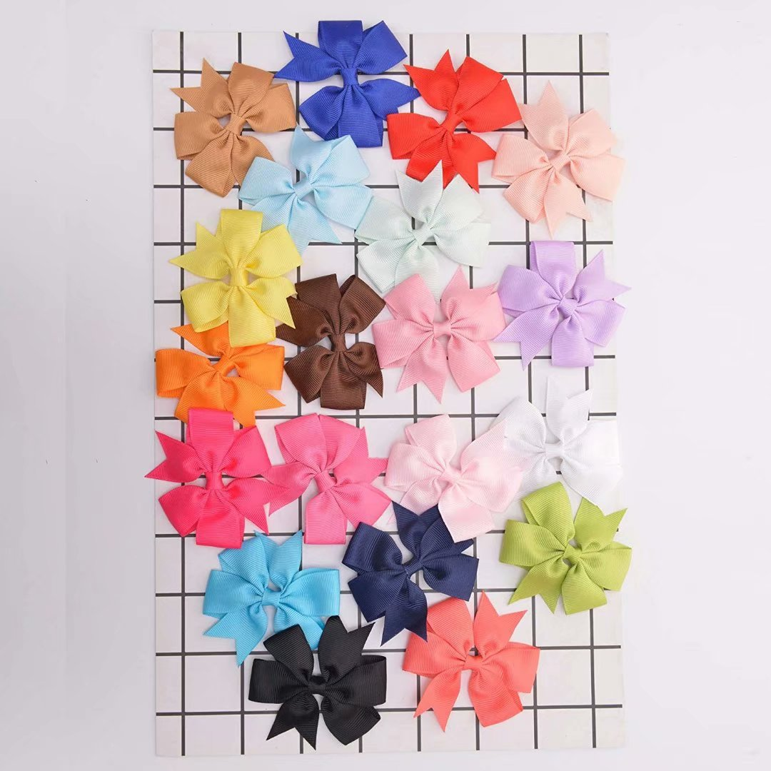 Baby Girls Hair Bows Clips Boutique Grosgrain Ribbon Bow Pinwheel Barrettes For Babies Kids Toddlers Teens Gifts Multi Color B-4.5-40PCS