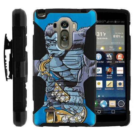 TurtleArmor ®  For LG G Stylo LS770, H631, MS631  LG G4 Stylus  LG Stylus [Hyper Shock] Hybrid Dual Layer Armor Holster Belt Clip Case Kickstand - Gorilla Playing Saxophone