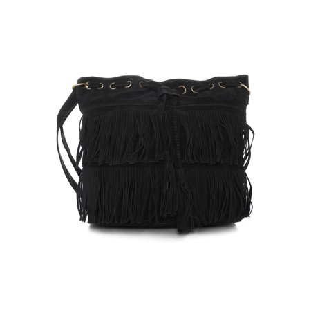 Unique Bargains Women's Functional Fringe Tassel Drawstring Tote Bucket Bag