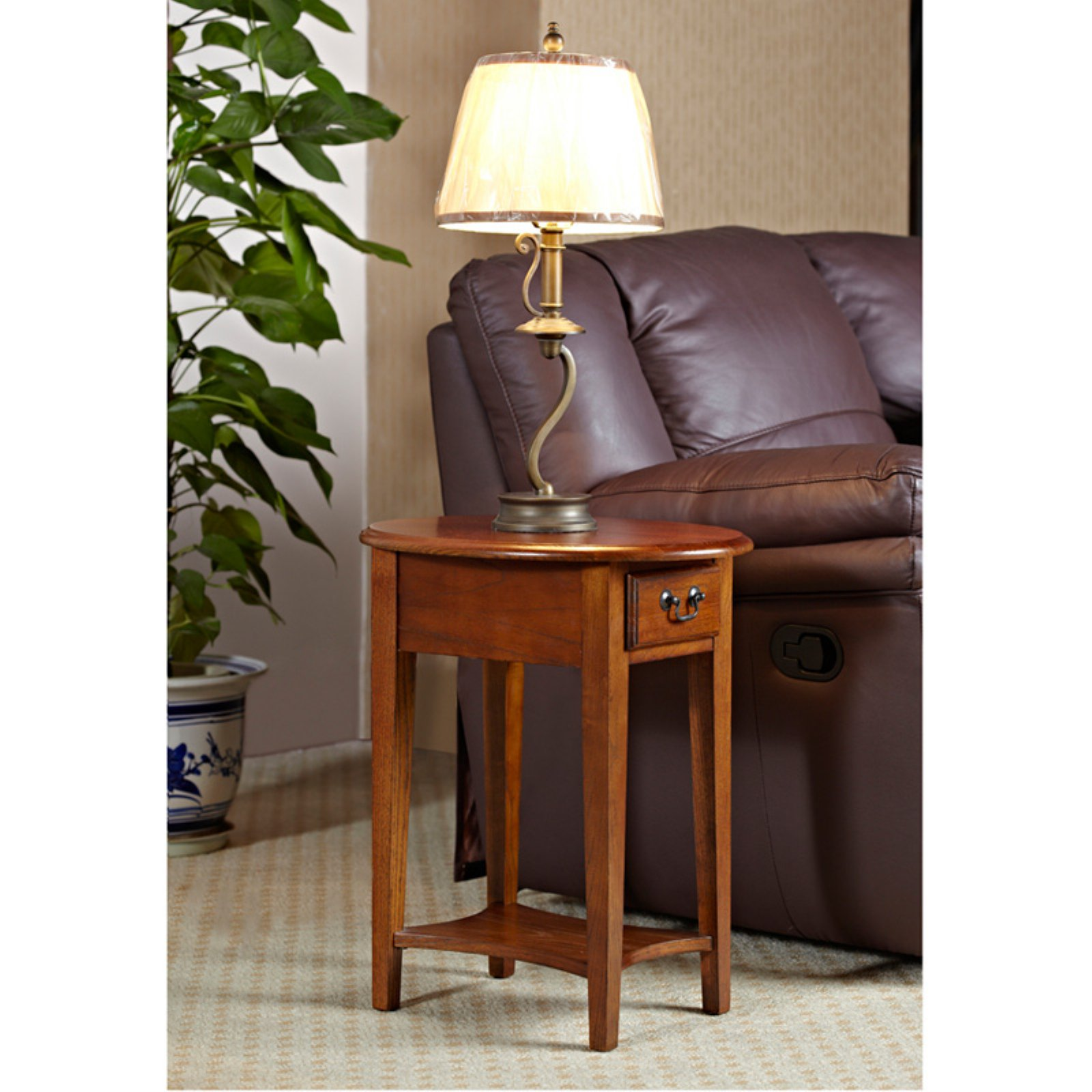 Leick Home Oval Side Table, Multiple Colors