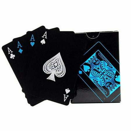 54pcs Fine-quality Plastic PVC Poker Waterproof Black Playing Cards Creative Gift Practical...
