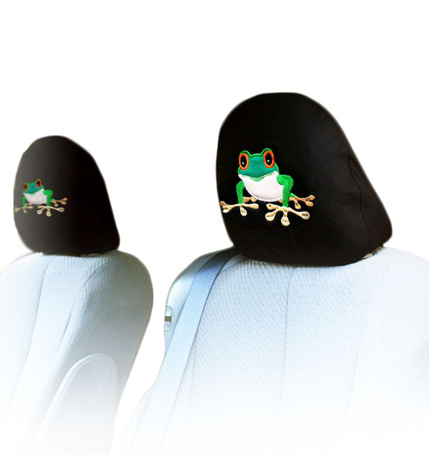 New Bundled Frog Car Headrest Black Fabric Seat Covers Combo Set Universal Fit