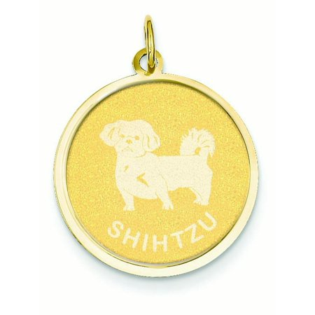 14k Gold Shih Tzu Disc Charm - Measures 26.3x19.3mm