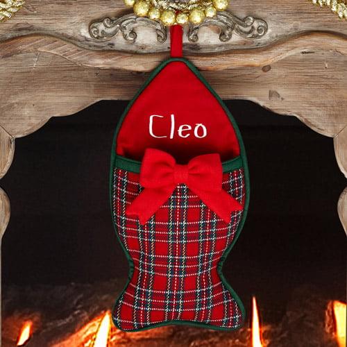 Personalized Plaid Christmas Stocking, Cat