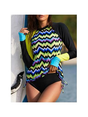 Women Zig Zag Style One Piece Sexy Swimwear